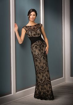 Black sheath mother of the bride dress with lace detail | Jade Couture | Style: K188011