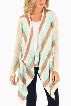 Ivory Brown Aqua Striped Knit Flowy Maternity Cardigan