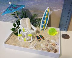 Desktop Beach (Basic) / Miniature Terrarium / Relaxing Zen Garden, Fairy Garden / Dollscale Spring, Summer Gift / Office Vacation Kit / OOAK...