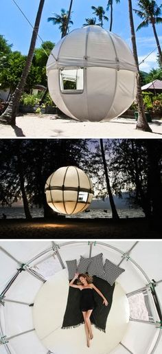 Cocoon Tree luxury camping tent.             Probably the only way I'd go camping!