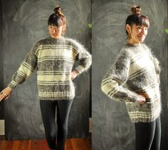 Amazing Vintage Neutral Stripes Mohair Wool  Knit by drowsySwords
