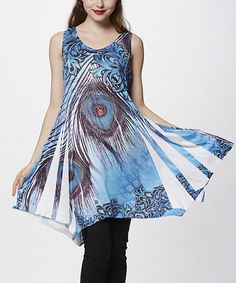 Look at this Simply Couture Blue Peacock Sublimation Sleeveless Handkerchief Tunic on #zulily today!