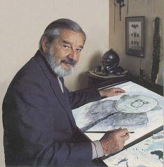 Charles Addams at his sketchboard. Comic Book Artists, Comic Artist, Comic Books, Book Creator, The Creator, John Kenn, Charles Addams, Hollywood Monsters, The Addams Family