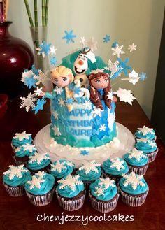 Disney frozen theme cake with cupcakes by chenjezzycoolcakes