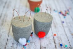 Osterhasenohren aus Kupfer Candle Holders, Easter, Candles, Diy Beton, Kids, Diy And Crafts, Party, Ideas, Plants