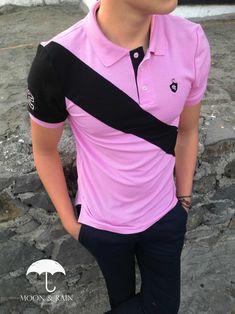 Playera polo rosa con franja negra exclusiva de moon & rain por Tiendas Platino #menswear