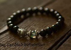 Mens Beaded Bracelet Buddha Bracelet Yoga by CandiedBohemian