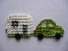 Wohnwagengespann  - Häkelapplikation