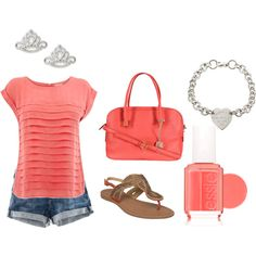 coral shirt, jean shorts, brown shoes, silver jewelry