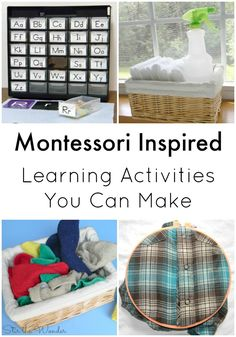 These simple Montessori Inspired learning activities will help you teach toddlers practical life skills, fine motor skills as well as learn to read!