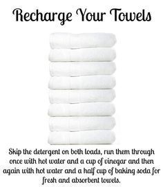Great for all the pool towels this summer! Over time, towels build up detergent and fabric softener, leaving them unable to absorb as much water and smelling funky. Recharge them by washing them once with hot water and one cup vinegar, then a second time with hot water and half cup baking soda. This strips the residue and leaves them fresh and able to absorb more water again. Works like a charm!