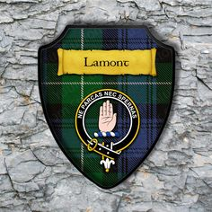 Lamont Plaque with Scottish Clan Badge on Clan Tartan Background by YourCustomStuff on Etsy https://www.etsy.com/listing/530617730/lamont-plaque-with-scottish-clan-badge