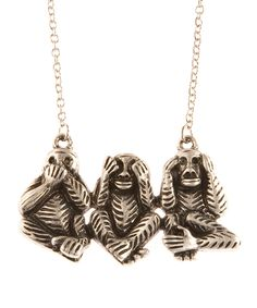 Fun! Three Wise Monkeys Necklace in Silver.