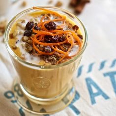 Healthy vegan  gluten free fitness shake recipe with roasted carrots, coconut milk and nuts. Diet dessert, breakfast or meal replacement smoothie. healthy
