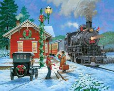Christmas Scenery, Christmas Train, Christmas Pictures, Christmas Art, Winter Christmas, Vintage Christmas, Xmas, Illustrations Vintage, Christmas Destinations