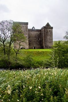 Hermitage Castle, Roxburghshire, Scotland - such a pretty setting and yet this beautiful scene has witnessed so much violence in its long ago past! Scotland Castles, Scottish Castles, Scotland Uk, Scotland Trip, Chateau Medieval, Medieval Castle, Hermitage Castle, Palaces, Famous Castles
