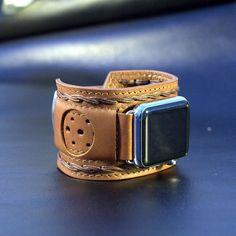 Apple Watch Strap Handmade Vintage Brown. Lugs Adapter by dganin
