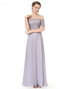 Elegant Half Sleevess Maxi Prom Dress