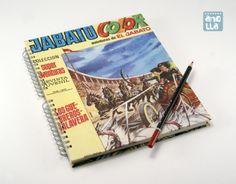 Libreta hecha a mano reciclando la portada y 3 páginas de un viejo cómic.