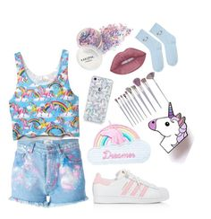 """Unicorn/colourful"" by samkitten69 on Polyvore featuring Forte Couture, Jazzelli Designs, adidas and Topshop"