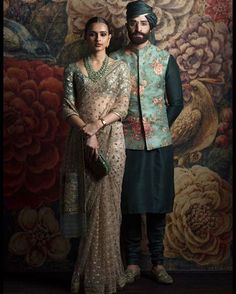 Looking for Sabyasachi Bottle Green Floral Lehenga? Browse of latest bridal photos, lehenga & jewelry designs, decor ideas, etc. Indian Groom Wear, Indian Attire, Indian Wear, Indian Outfits, Saris, Wedding Dresses Men Indian, Wedding Dress Men, Punjabi Wedding, Indian Weddings