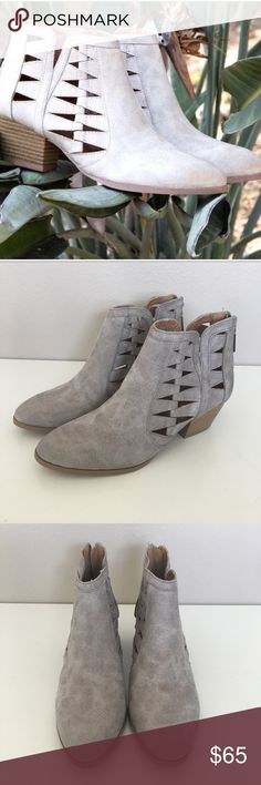 Gray Cutout Ankle Booties Brand new without tags. True to size. Color is the darker gray; not the lighter gray, as shown in first model pic. Shoes Ankle Boots & Booties