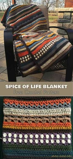 Crochet Afghans Patterns Spice of Life Blanket Free Crochet Pattern Crochet Crafts, Easy Crochet, Crochet Baby, Crochet Projects, Free Crochet, Crotchet, Scrap Crochet, Crochet Chain, Ravelry Crochet