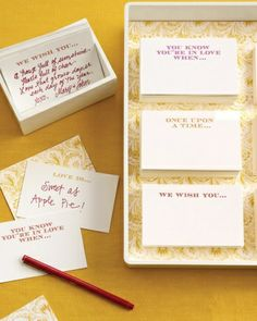 Help for the Wedding Guest Book - Panicked? At a loss for words? That's how some people feel when faced with a blank guest book. Come to their rescue with conversation-starting phrases printed on recipe-size index cards.