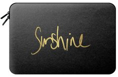 """Casetify Macbook Pro Retina 15 Macbook Sleeve - You are My """"Sunshine"""" Text Typography on Black- Gold Edition by Black Strawberry #Casetify"""