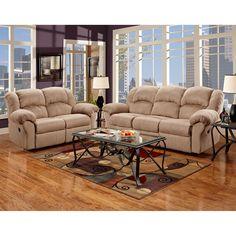 Exceptional Designs Reclining Living Room Set in Sensations Camel Microfiber