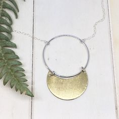 Items similar to Moon Goddess Necklace - Crescent Moon Bib Necklace - Sterling Silver and Brass on Etsy Summer Necklace, Leaf Necklace, Sterling Silver Hoops, Sterling Silver Necklaces, Moon Goddess, Geometric Necklace, Nature Inspired, Jewelry Collection, Unique Gifts