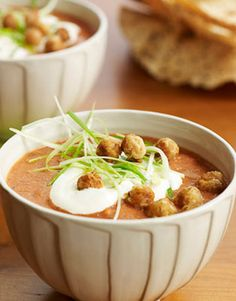 Indian-influenced and elegant, this creamy tomato soup is garnished with crunchy spiced chickpeas.Recipe:Tomato-Coconut Soup with Spiced Chickpeas Summer Soup Recipes, Hearty Soup Recipes, Tomato Soup Recipes, Dinner Recipes, Chickpea Recipes, Vegetarian Recipes, Cooking Recipes, Healthy Recipes, Healthy Soups