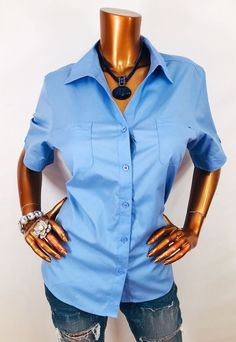 959efc30 Chico's 2 or L Top NO-IRON Button Down Shirt Blue Blouse Short Sleeves