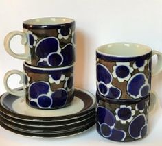Vintage Arabia Saara Wartsila Finland 4 Cups Saucers Flow Blue. Condition is New. Shipped with USPS Priority Mail. Priority Mail, Cup And Saucer, Finland, Flow, Cups, Ocean, Ceramics, Tableware, Water