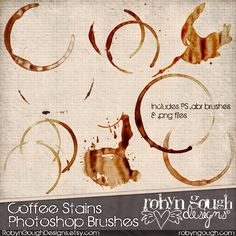 Grunge Coffee Stains Digital Scrapbook Clip art & Photoshop Brushes by Robyn Gough on Etsy. digiscrap, photoshop, digital scrapbook