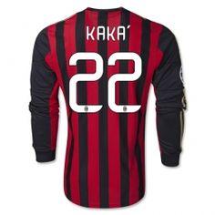13-14 AC Milan #22 KAKA Home Long Sleeve Soccer Jersey Shirt