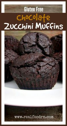 Gluten Free Chocolate Zucchini Muffins Quick easy filled with zucchini Definitely a kid favorite You can make this recipe into a cake or a loaf of bread too Gluten Free Muffins, Gluten Free Sweets, Gluten Free Chocolate, Gluten Free Cooking, Dairy Free Recipes, Real Food Recipes, Gluten Free Zucchini Recipes, Delicious Chocolate, Zuchinni Bread Gluten Free