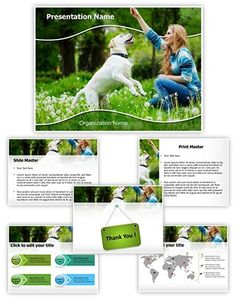 Dog Human Friendship Powerpoint Template is one of the best PowerPoint templates by EditableTemplates.com. #EditableTemplates #PowerPoint #Autumn #Female #Dog #Smile  #Outdoor #Leisure #Leaves #Human #Meadow #Fresh