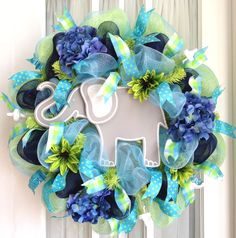 Custom order for a themed baby shower by www.southerncharmwreaths.com #decomesh #nursery #elephant #bluegreen
