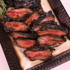 Grilled Skirt Steak by Michael Symon, abc.co.com: Marinate for a minimum of 2 hours and preferably overnight in the fridge. Grill for 2-4 minutes per side. The refreshing marinade of balsamic vinegar, brown sugar, garlic, rosemary, chili flakes and olive oil would also work well with chicken or as a dressing for greens.  #Grill #Beef #Skirt_Steak #Easy