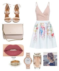 """Untitled #42"" by athziri-galindo on Polyvore featuring Ted Baker, Aquazzura, Givenchy, Smashbox and Cartier"