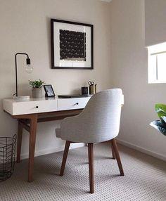 Cozy Home Office, Office Nook, Home Office Decor, Desk In Living Room, Bedroom Desk, Small Room Bedroom, Grey Desk, Minimalist Home, Cozy House