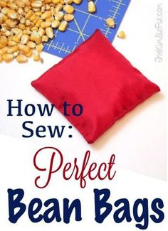 How to Sew the Perfect Bean Bag (For Only Pennies!) How to make bean bags that are perfect for cornhole and other outdoor games. The correct fabric choice, filler and sewing technique will give you a long lasting bean bag that will stand the test of time. Sewing Hacks, Sewing Tutorials, Sewing Crafts, Sewing Tips, Bags Sewing, Dress Tutorials, Dress Sewing, Diy Crafts, Backyard Games