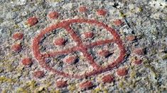 Stone carving of a Scandinavian bronze age sun symbol the sun cross or wheel cross Stock Photo Fresco, Arte Tribal, Rune Stones, Hand Poked Tattoo, Viking Age, Iron Age, Ancient Aliens, Ancient Artifacts, Stone Carving