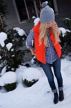 But can I pull off an orange bomber vest. Or a vest of ANY kind without looking obnoxious?' Gorgeous in Gingham >> Headed Somewhere