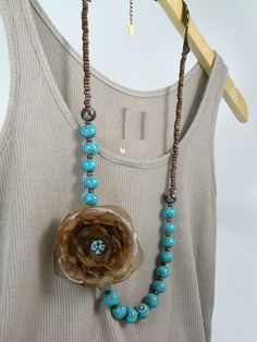 Turquoise and Brown Beads Long Necklace with fabric by ArzuMusa
