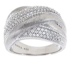 Judith Ripka Sterling Diamonique Textured Wide Highway Ring