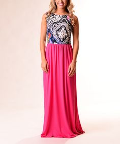 Lbisse Pink Scarf-Print Maxi Dress | zulily