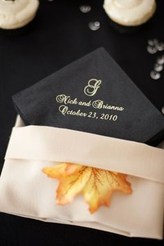 Fall themed napkin arrangement #fallwedding