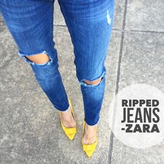 "My Fave Ripped Zara Jeans! Medium rise sturdy denim jeans by ZARA in a medium wash, 98% cotton 2% elastane, size 4 has a fitted-but-loose skinny fit on me (I'm a 2/26), ripped knee, ripped thigh, reinforced belt loops (the ones you use to hoist the jeans up!) cut off raw hems. Laying flat: Approx. 15.5"" across waist, 17.5"" across hips, 26"" inseam, 5"" across ankle. Freshly laundered and ready to wear! Zara Jeans Skinny"